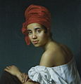 Creole woman in a red tignon